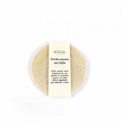 Porte savon rond en fibre de lofa naturelle