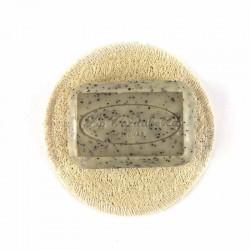 Porte savon rond lofa naturel avec savon concombre et  pavot La Cardabelle