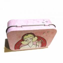 Boite métal La Cardabelle rose et ses bulles de savon