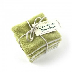 Lingettes visage lavables en bambou très doux vert prairie