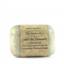 Savon artisanal au lait de jument Calendula huile de macadamia huile essentielle de lavande et de palmarossa