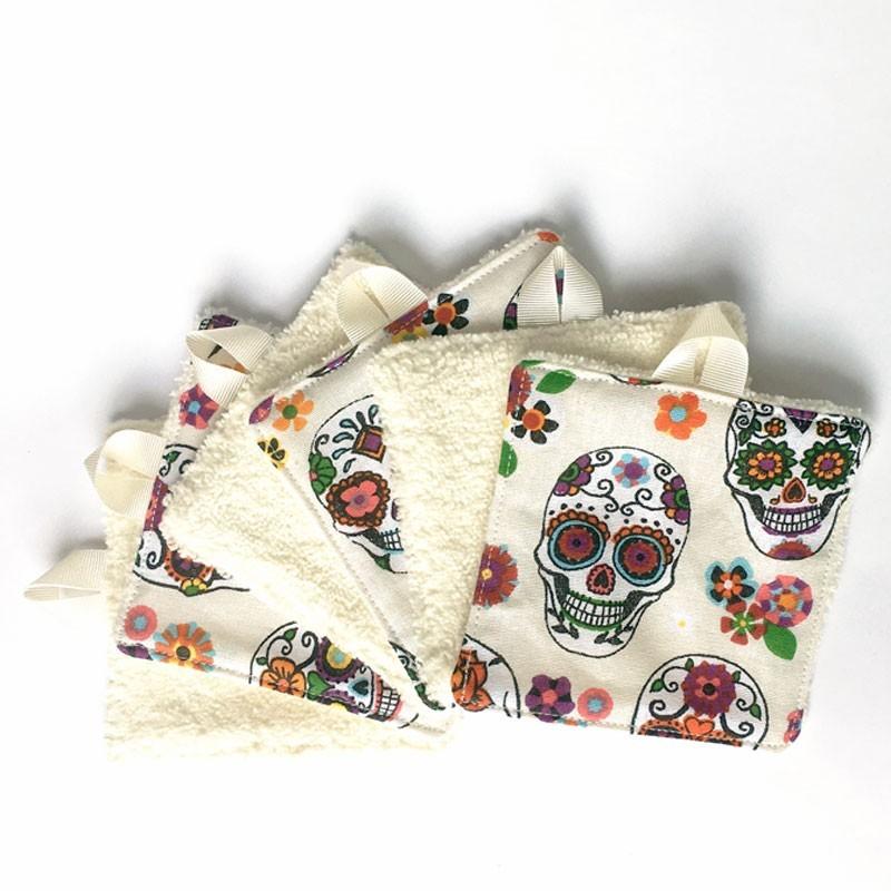 Lingette démaquillante têtes de morts mexicaines et velours de bambou TOUDOUM