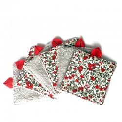 Carrés démaquillants petites fleurs rouges et grises façon liberty et molleton gris de bambou TOUDOUM