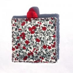 Lingette démaquillante petites fleurs rouges et grises et velours gris de bambou