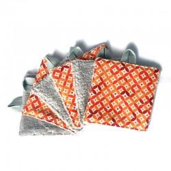 Lingette démaquillante et velours de bambou TOUDOUM décors orange oeko-tex