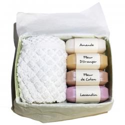 Coffret savons Provence Amande douce Fleur de Coton Fleur d'oranger Lavandin