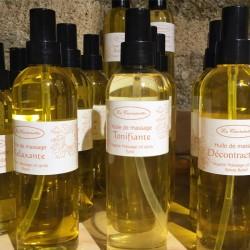 Huile de massage bio et naturelle aux huiles essentielles décontractantes