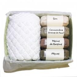 Box savons de gommage son algues pépins de raisin concombre