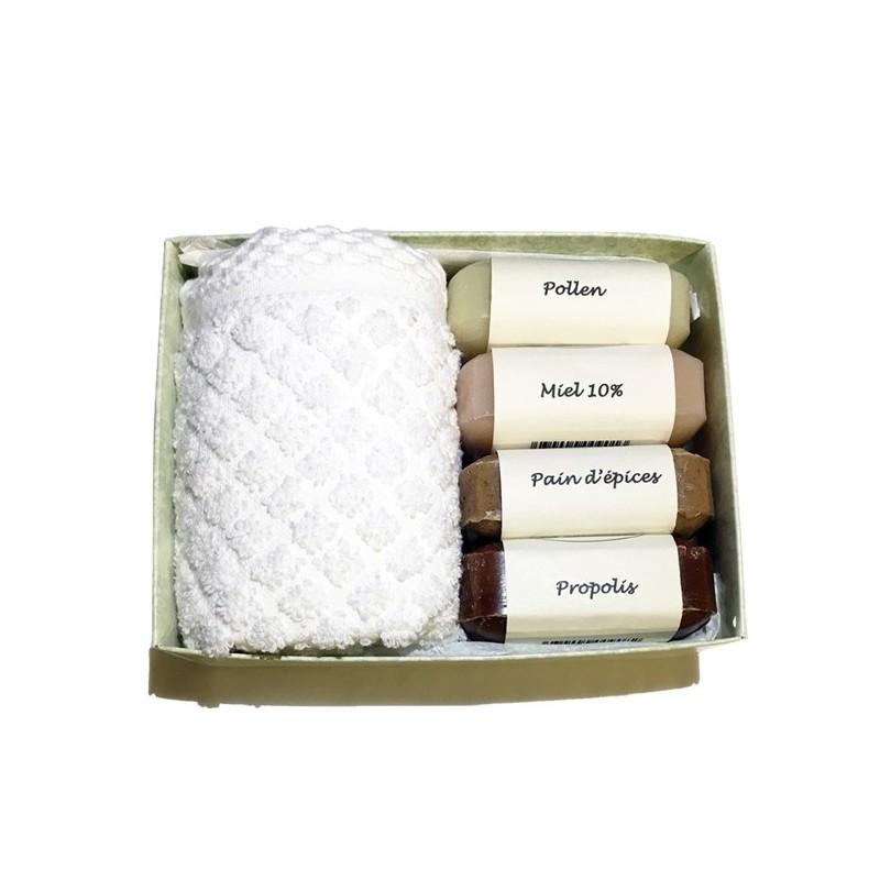 Coffret cadeau savons artisanaux de la ruche miel pollen pain d'épices propolis