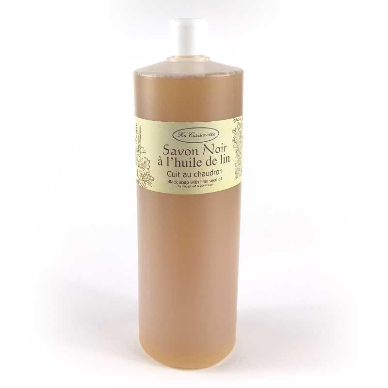 Savon noir liquide à l'huile de lin bouteille un litre