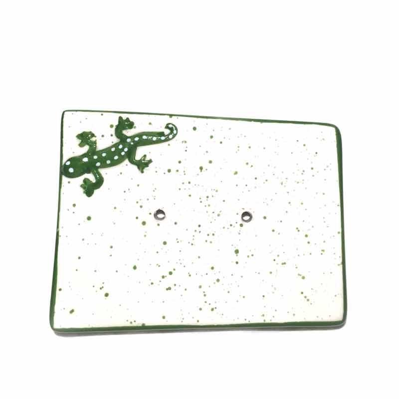 Porte-savon céramique lézard vert