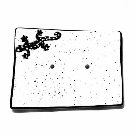 Porte-savon céramique lézard noir